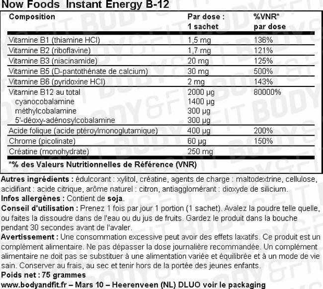 Poudre Instant EnergyB12 Nutritional Information 1