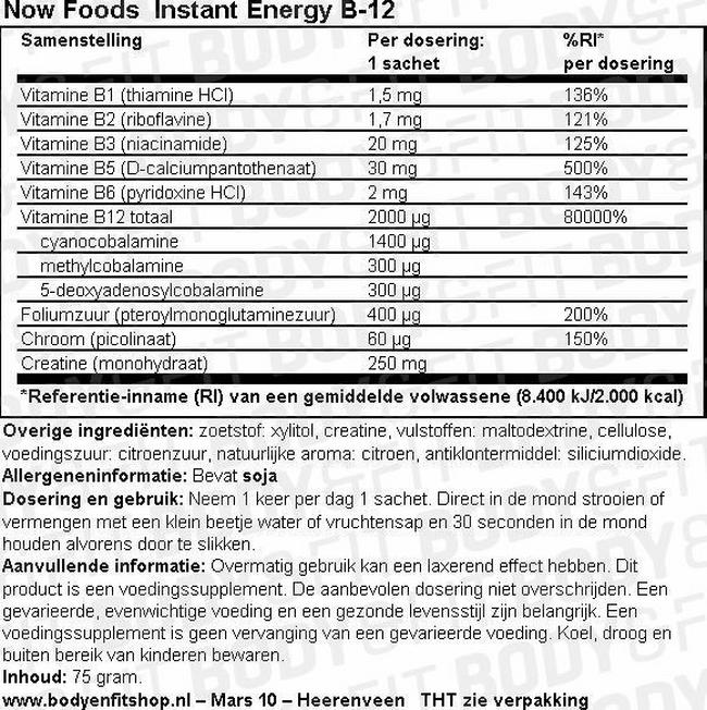 Instant Energy B-12 Nutritional Information 1