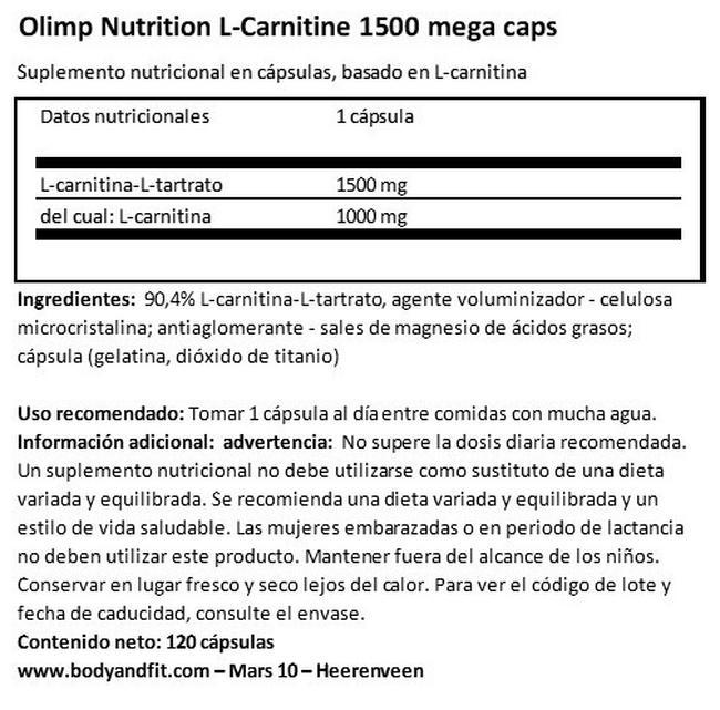 L-Carnitine 1500 Mega Caps Nutritional Information 1