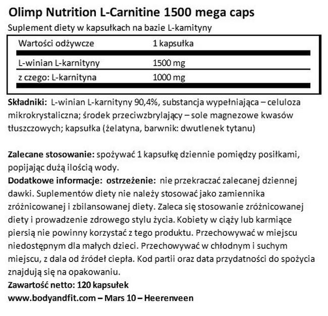 L-Carnitine 1500 Mega Caps Nutritional Information 1