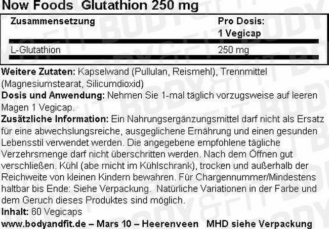 Glutathione 250mg Nutritional Information 1