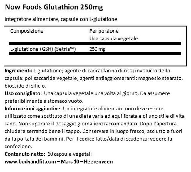 Glutanione 250 mg Nutritional Information 1