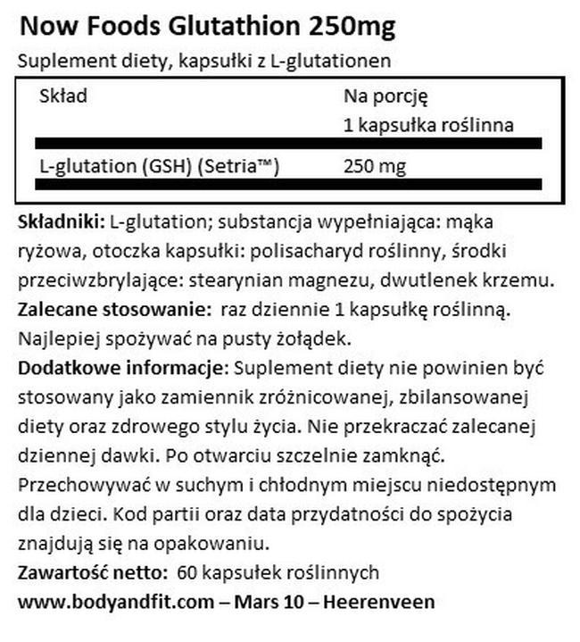 Glutation 250 mg Nutritional Information 1