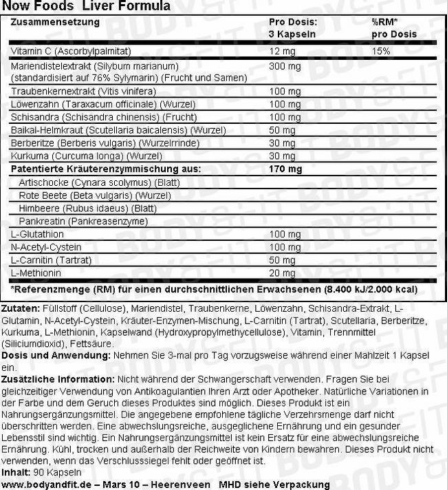 Liver Formula Nutritional Information 1