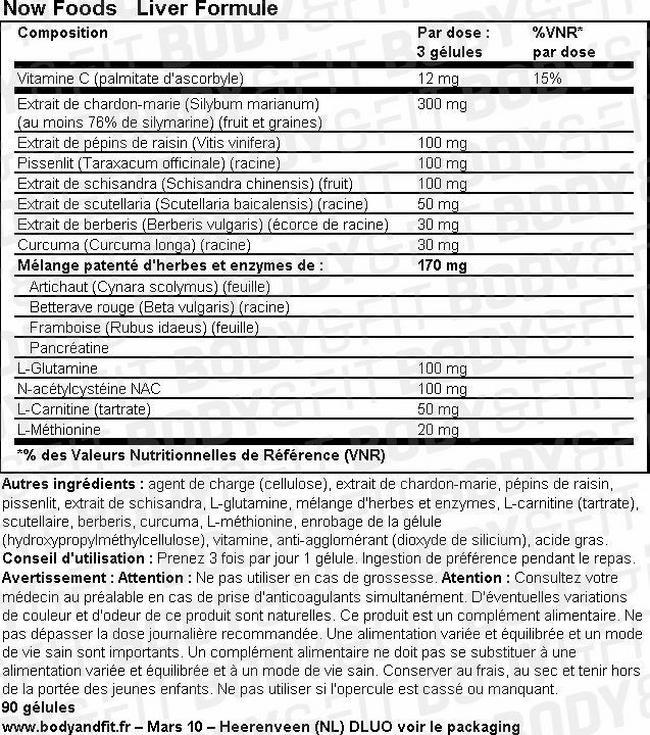 Liver Formule Nutritional Information 1
