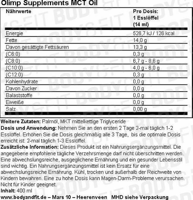 MCT Öl Nutritional Information 1