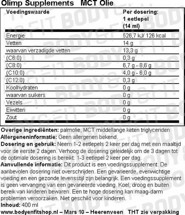 MCT Olie Nutritional Information 1