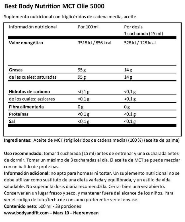 Aceite MCT Nutritional Information 1