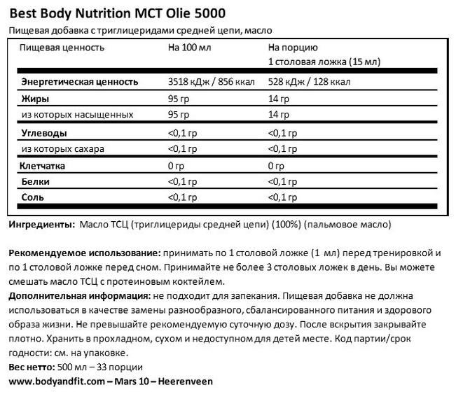 Масло MCT 5000 Nutritional Information 1