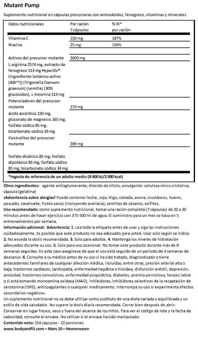 Mutant Pump Nutritional Information 1