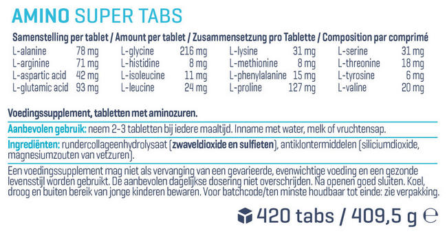 Amino Super Tabs Nutritional Information 1