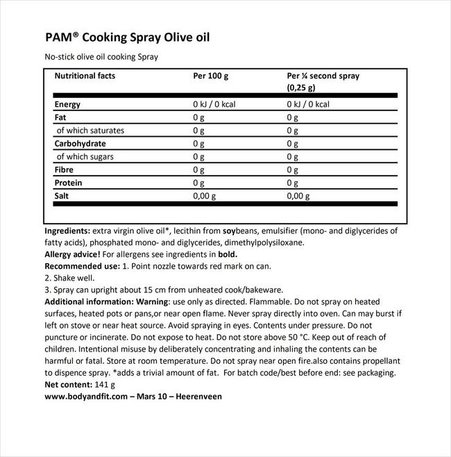 Cooking Spray Olive Oil Nutritional Information 1