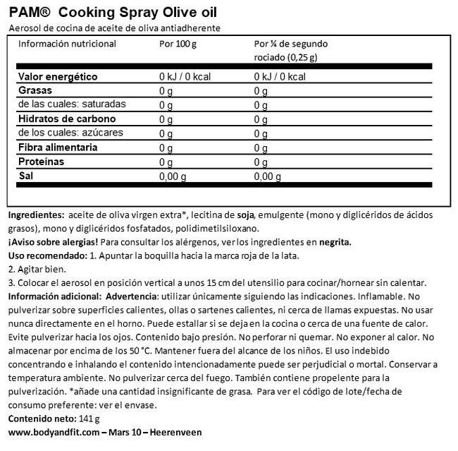 Aceite de Oliva Spray para Cocinar Nutritional Information 1