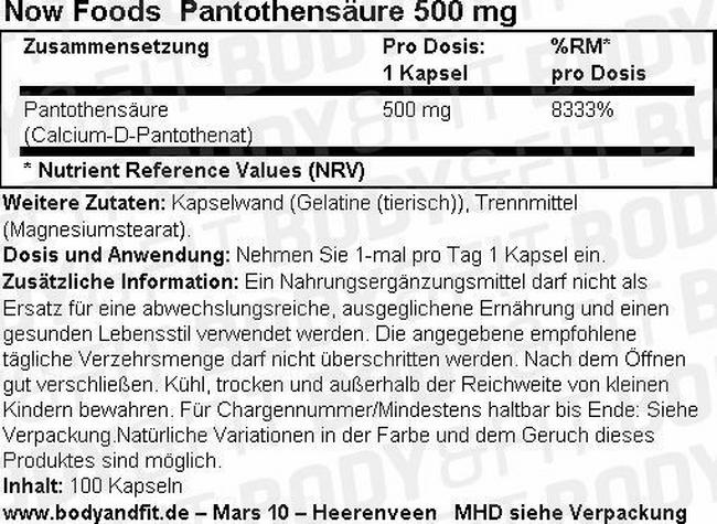 Pantothensäure (Vitamin B5) Nutritional Information 1