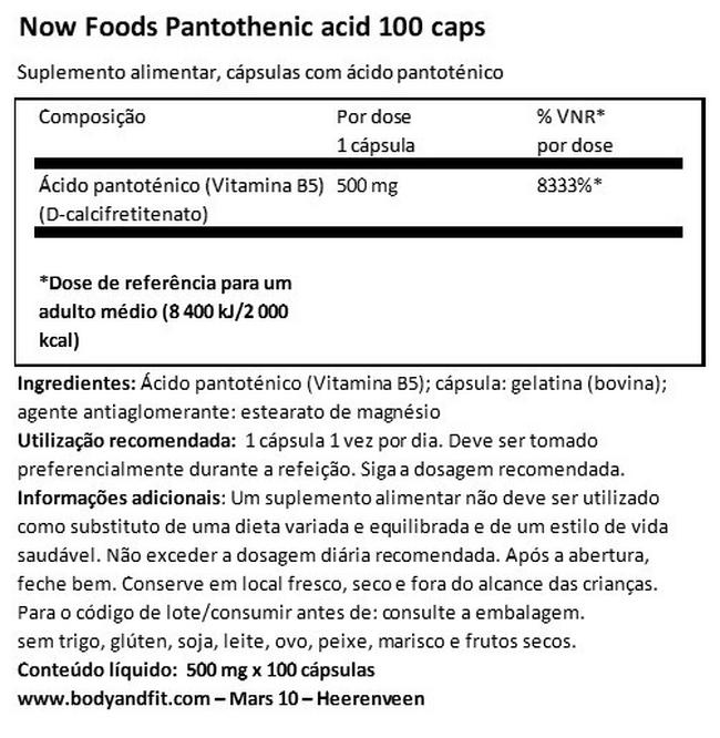 Pantothenic Acid (vitamin B5) Nutritional Information 1