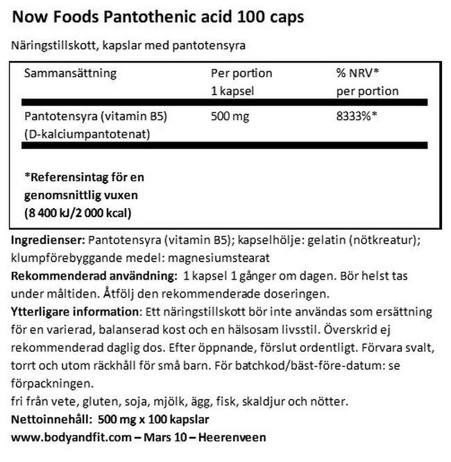 Pantothenic Acid (vitamin B5) Nutritional Information 1