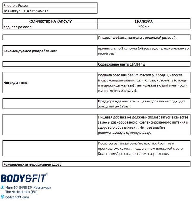 Rhodiola Rosea Nutritional Information 1
