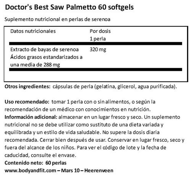 Saw Palmetto Nutritional Information 1