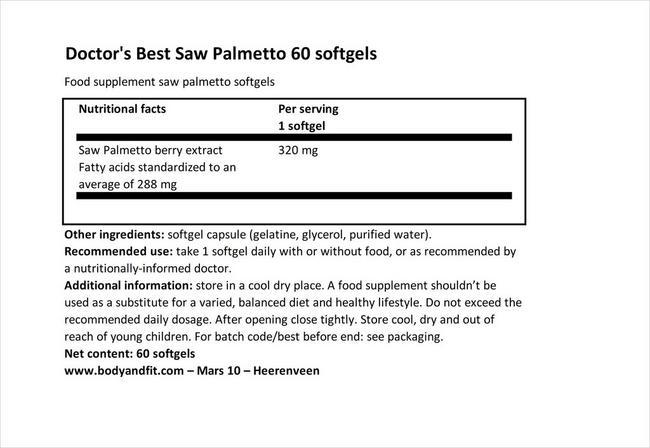 ソーパルメット Nutritional Information 1