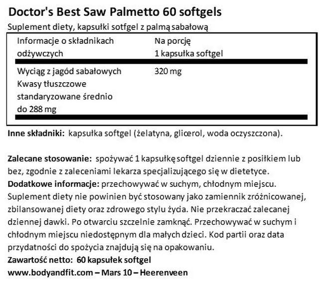 Saw Palmetto Nutritional Information 1