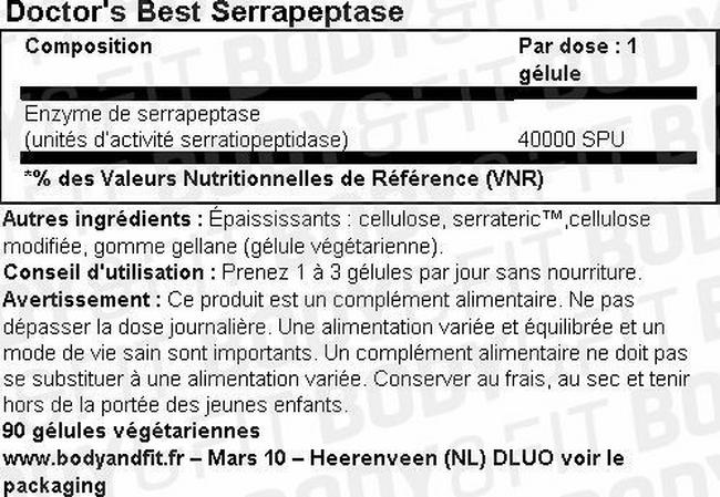 Serrapeptase Nutritional Information 1
