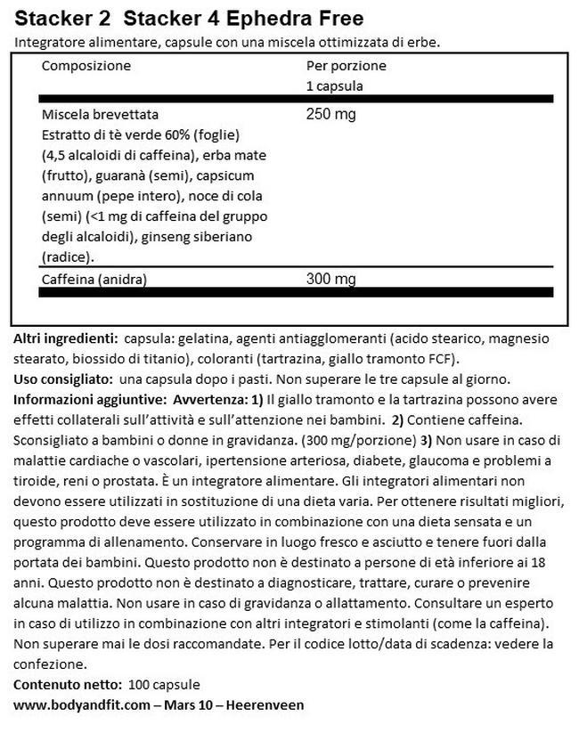 Stacker 4 Ephedra Free Nutritional Information 1