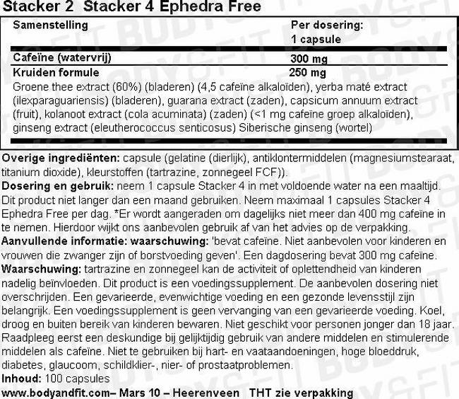 Stacker 4 Ephedra Free Nutritional Information 1