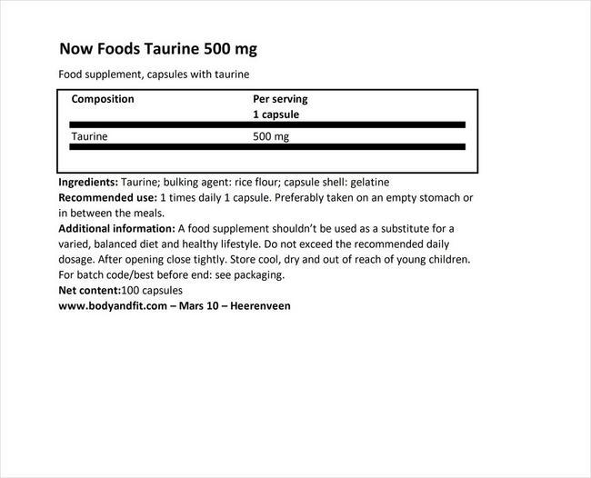 Taurine 500mg Nutritional Information 1