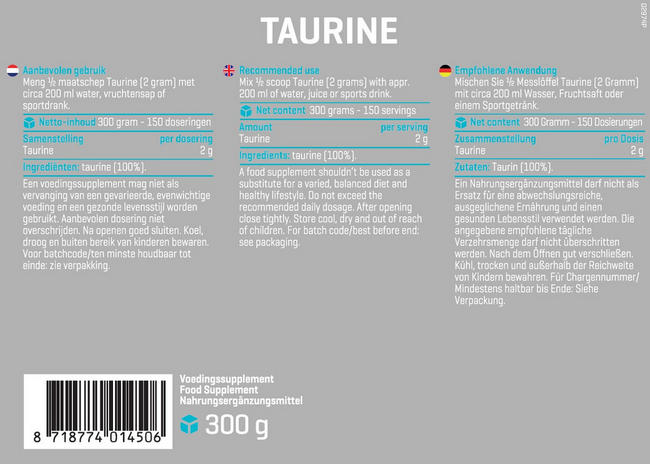 Pure Taurin Nutritional Information 1
