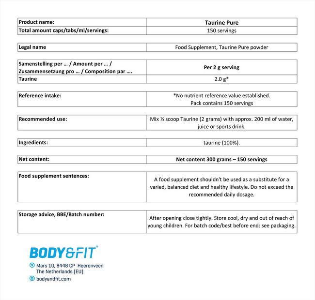 ピュアタウリン Nutritional Information 1