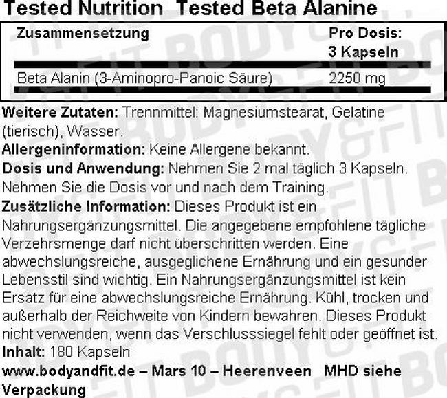 Tested Beta Alanin Nutritional Information 1