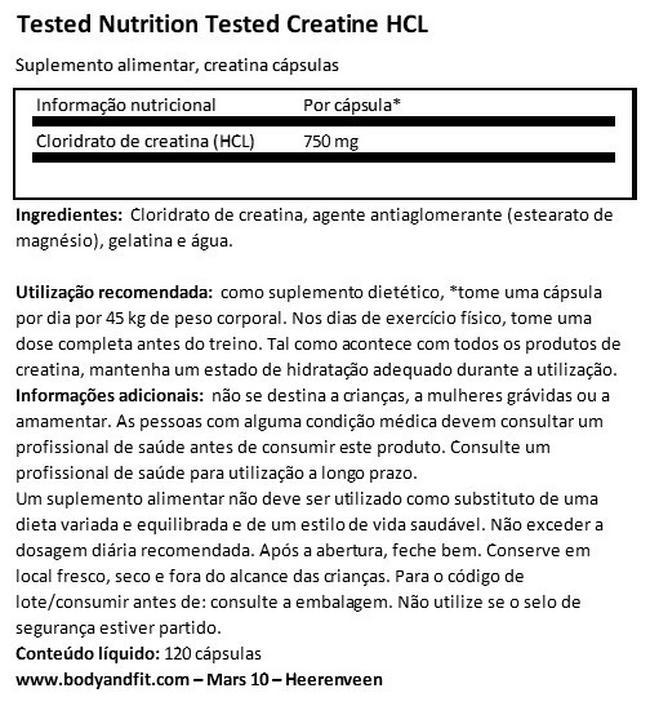Tested Creatine HCL Nutritional Information 1