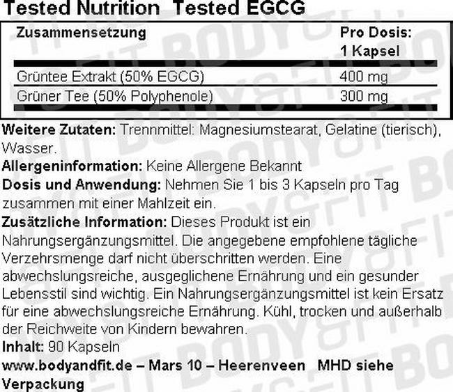 Tested EGCG Nutritional Information 1