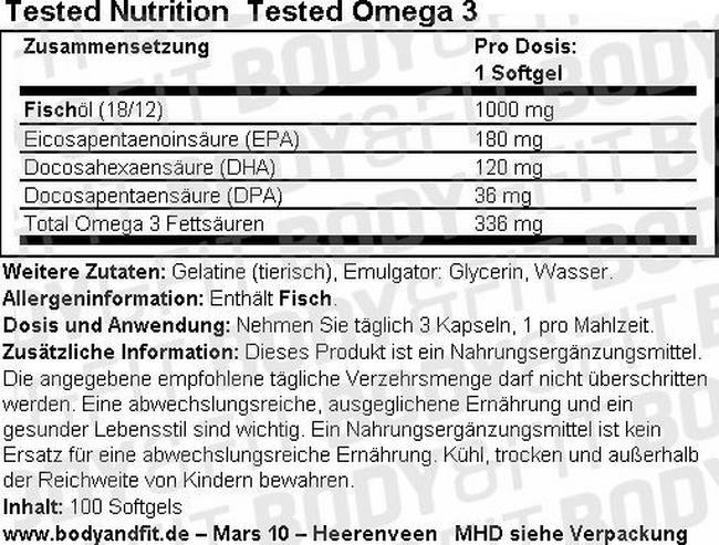 Tested Omega 3 Nutritional Information 1