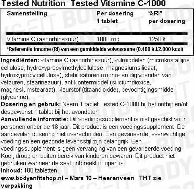 Tested Vitamine C-1000 Nutritional Information 1