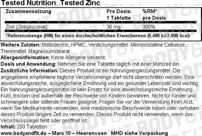 Tested Zink Nutritional Information 1