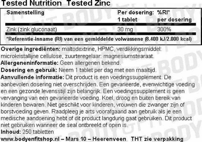 Tested Zinc Nutritional Information 1