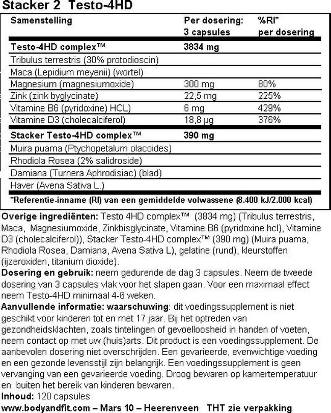 Testo-4HD Nutritional Information 1