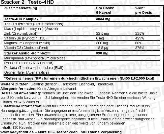 Testo-4HD Nutritional Information 3