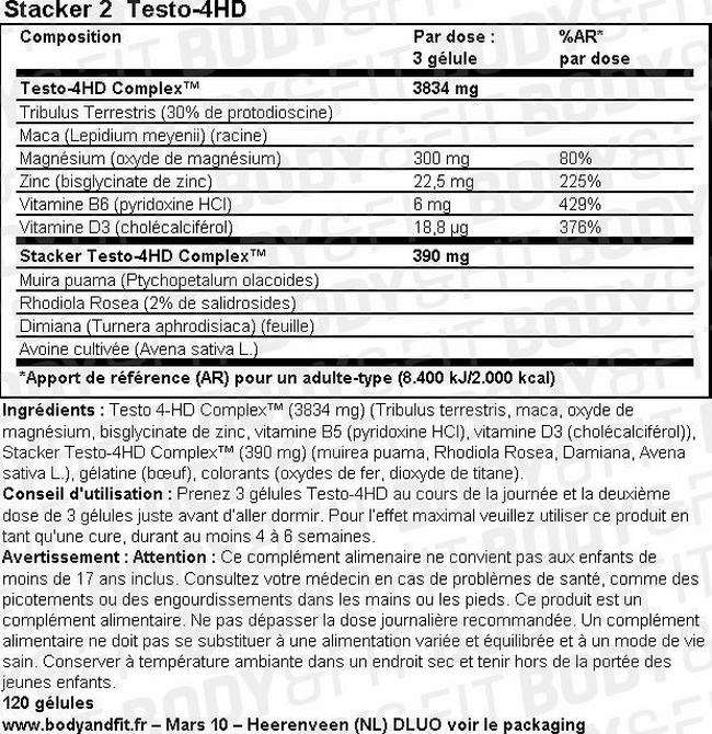 Testo-4HD Nutritional Information 1