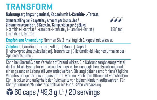 TRANSFORM (L-Carnitin Tartrat) Nutritional Information 1