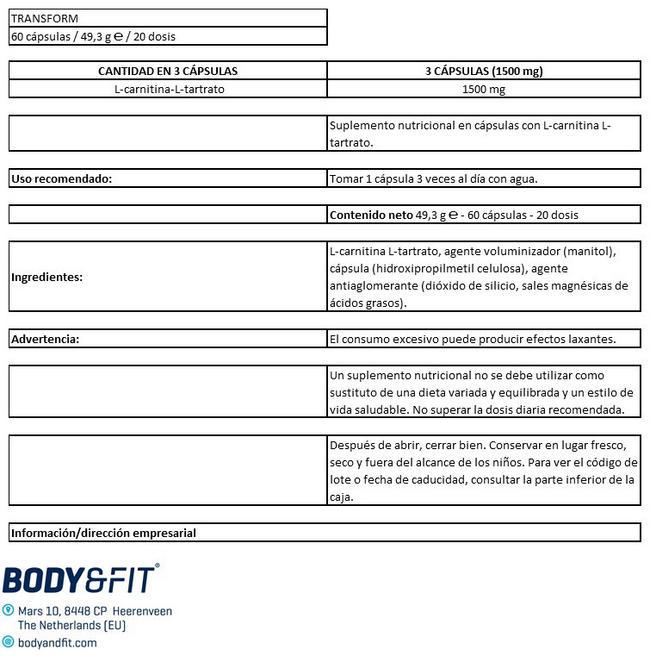 TRANSFORM Nutritional Information 1