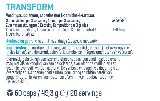 TRANSFORM (L-Carnitine Tartrate) Nutritional Information 1