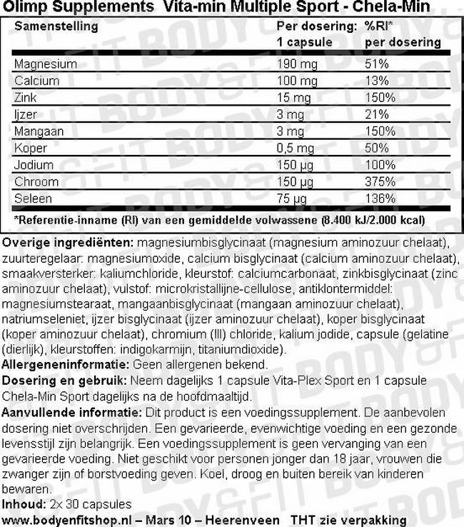 Vita-min Multiple Sport Nutritional Information 2