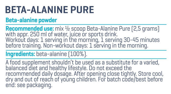 Beta Alanine Pure Nutritional Information 2