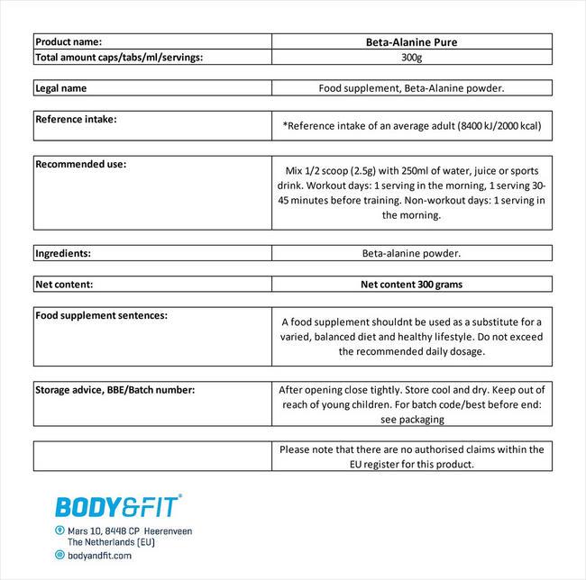 Beta Alanine Pure Nutritional Information 3