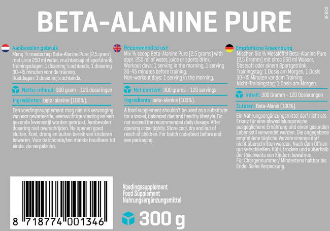 Beta Alanine Pure Nutritional Information 1