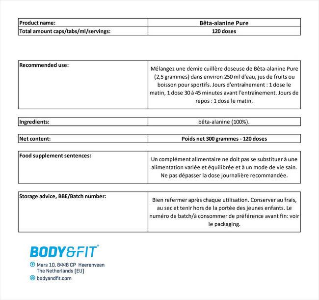 Bêta-alanine Pure Nutritional Information 1