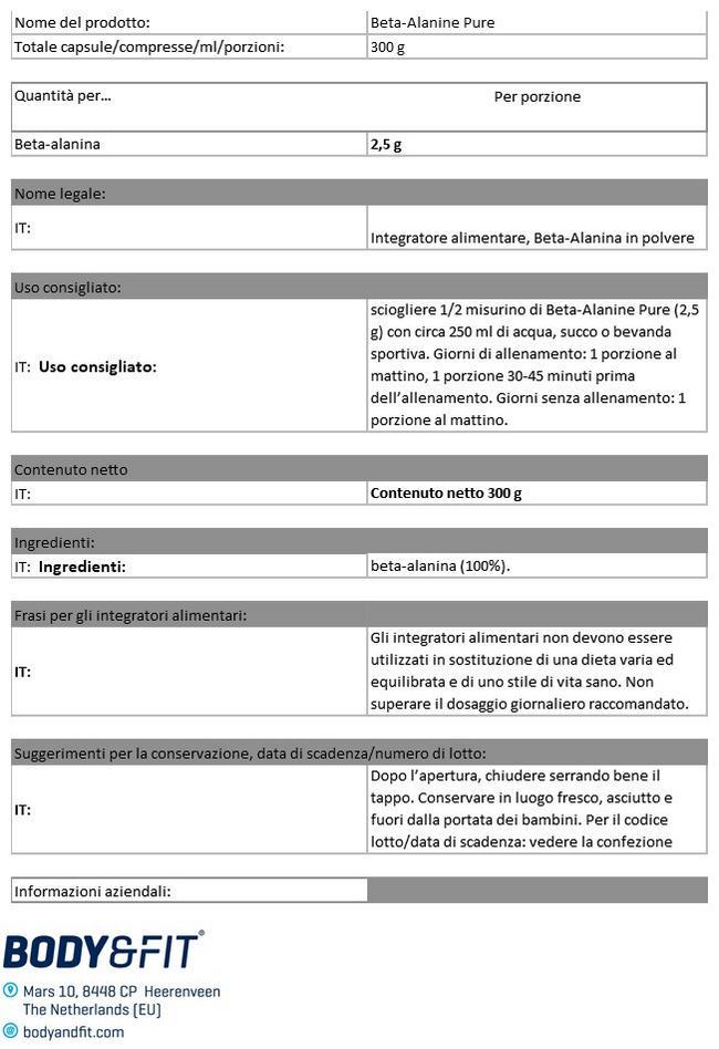 Beta Alanine Pure Nutritional Information 1