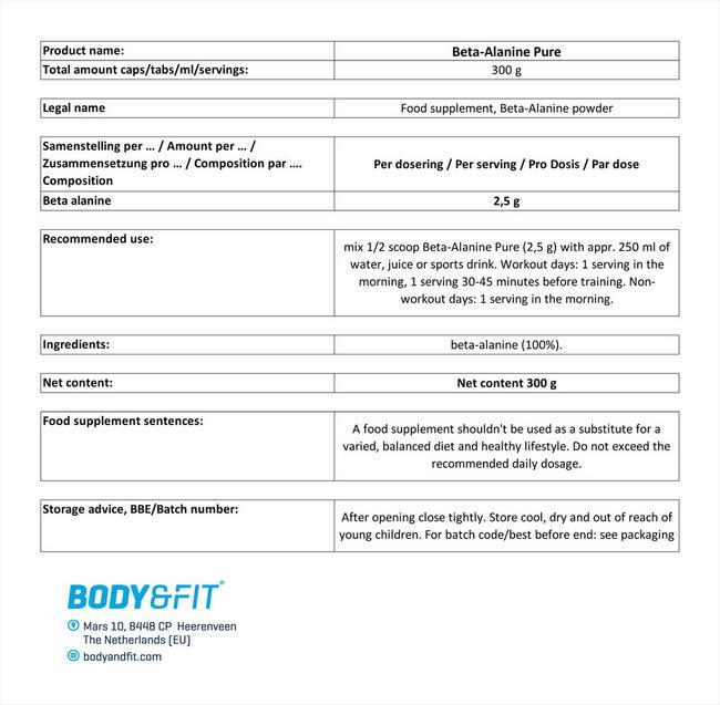 ベータアラニン ピュア Nutritional Information 1